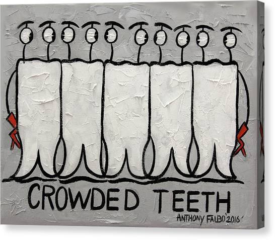 Floss Canvas Print - Crowded Teeth by Anthony Falbo