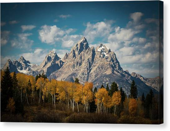 Yellowstone Canvas Print - Crown For Tetons by Edgars Erglis