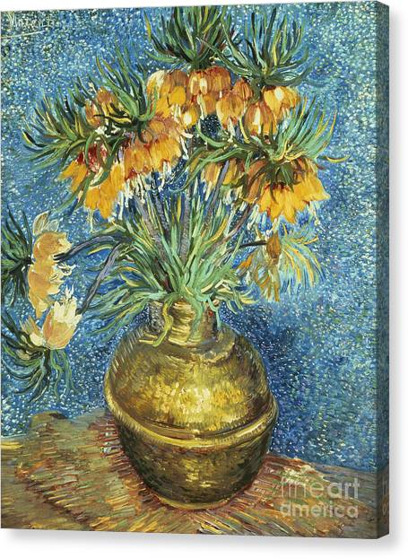 Vincent Van Gogh Canvas Print - Crown Imperial Fritillaries In A Copper Vase by Vincent Van Gogh