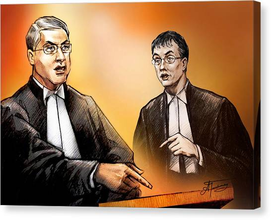 Crown Michael Carnegie Versus Defence Lawyer Dirk Derstine At The Rafferty Trial Canvas Print