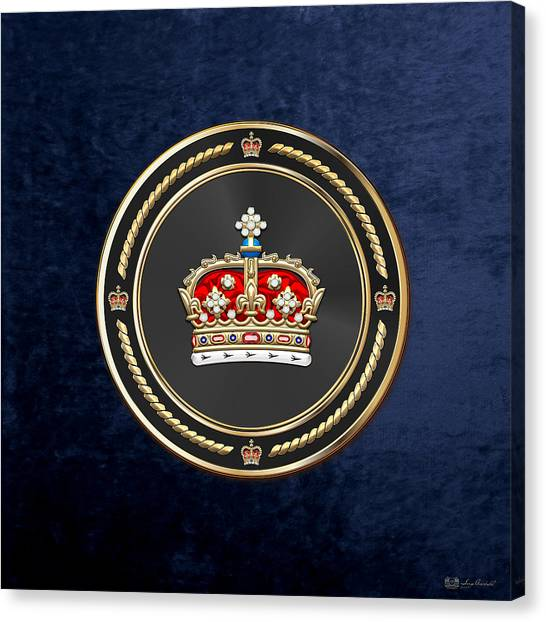 Crown Of Scotland Over Blue Velvet Canvas Print
