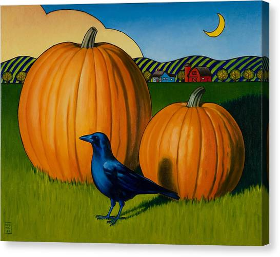 Pumpkins Canvas Print - Crows Harvest by Stacey Neumiller
