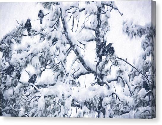 Crows In Snow Canvas Print