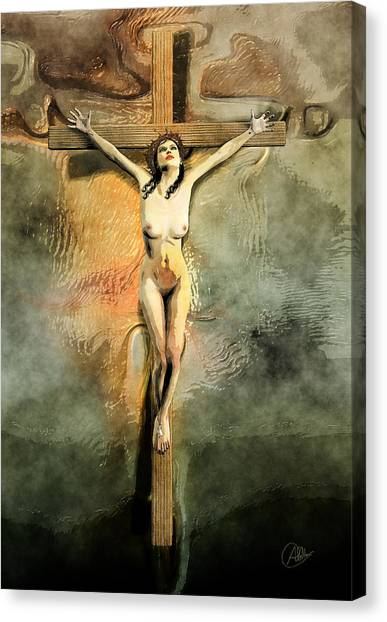 Atheism Canvas Print - Crucified Woman Art by Quim Abella