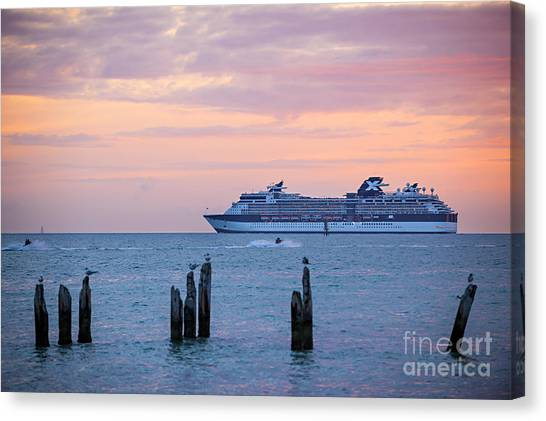 Jet Skis Canvas Print - Cruise Ship At Key West by Elena Elisseeva