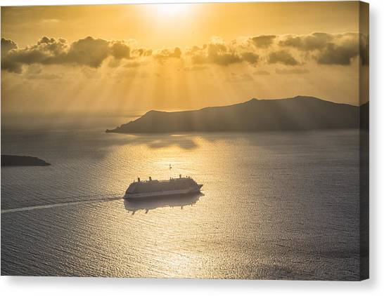 Cruise Ship In Greece Canvas Print