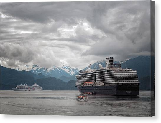 Tongass National Forest Canvas Print - Cruise Ships In Port - Sitka Alaska 2 by SharaLee Art