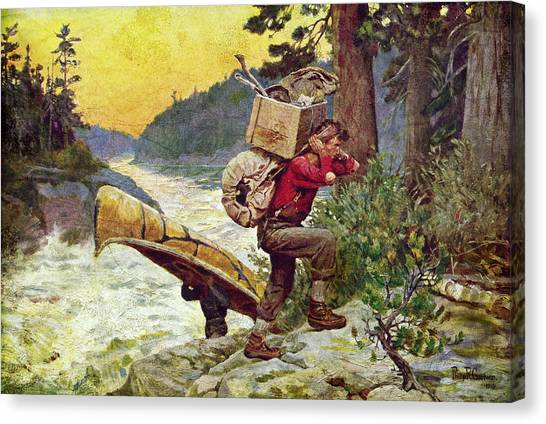 Canoe Canvas Print - Cruisers Making A Portage by JQ Licensing