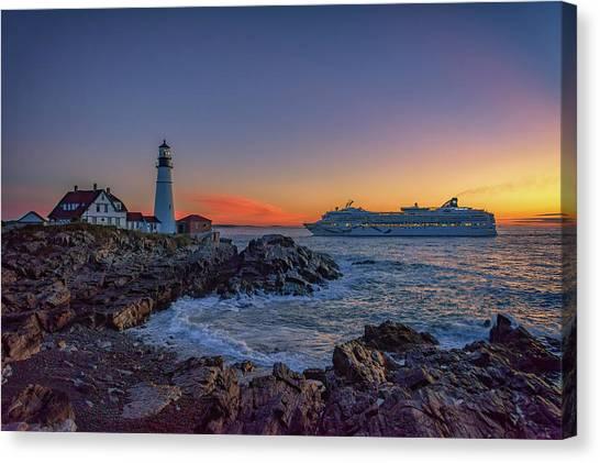 Cruise Ships Canvas Print - Cruising Into Portland by Rick Berk