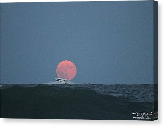 Cruising On A Wave During Harvest Moon Canvas Print