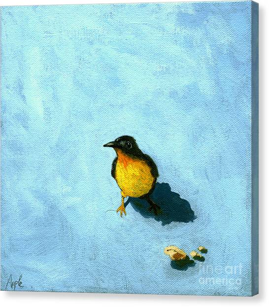 Crumbs -bird Painting Canvas Print