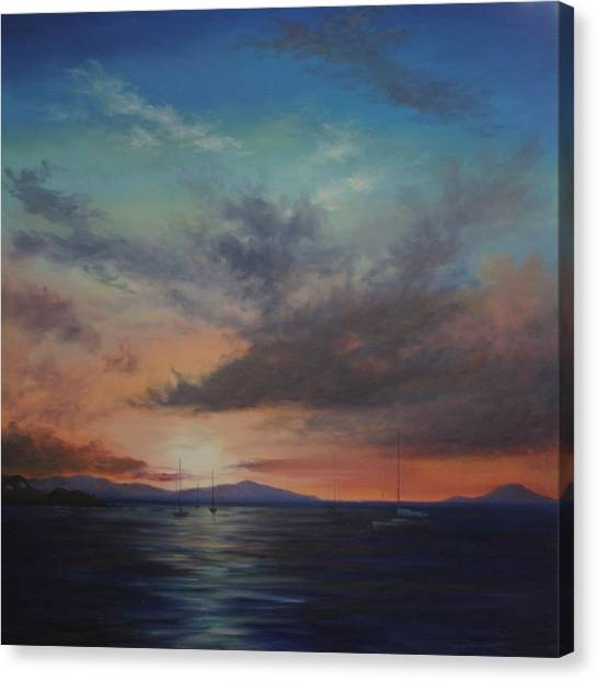 Cruz Bay Sunset By Alan Zawacki Canvas Print