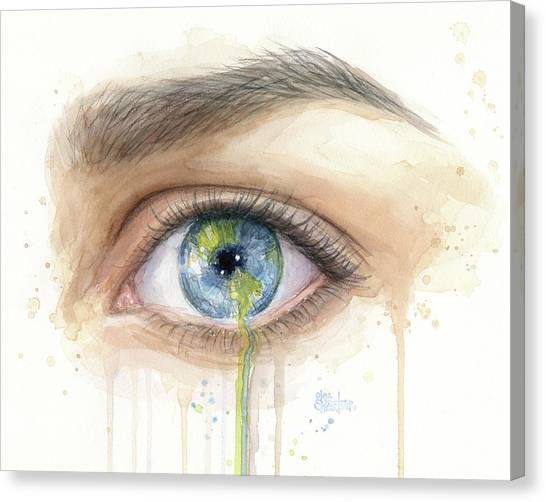 Earth Canvas Print - Earth In The Eye Crying Planet by Olga Shvartsur