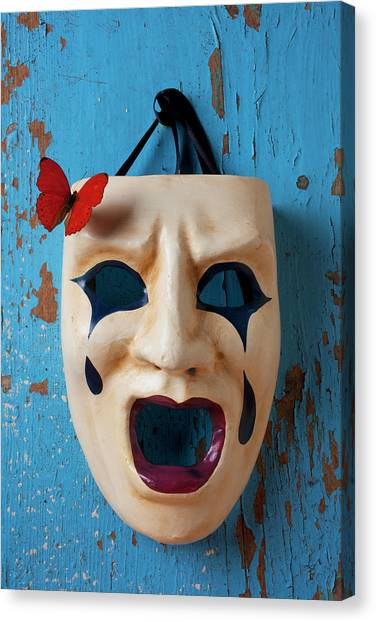 Life-threatening Canvas Print - Crying Mask And Red Butterfly by Garry Gay