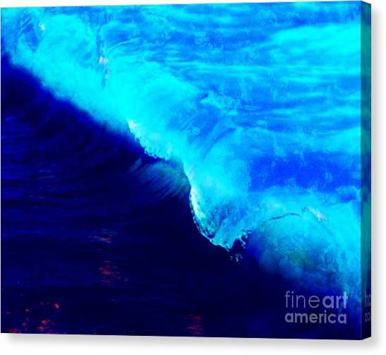 Crystal Blue Wave Painting Canvas Print