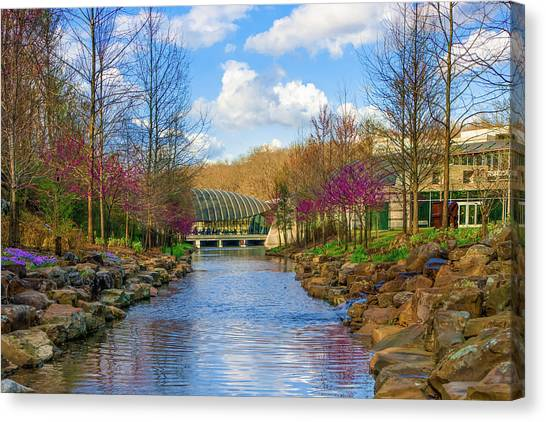 Crystal Bridges In Spring And Blue Skies Canvas Print by Gregory Ballos