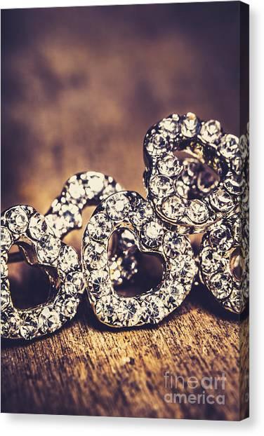 Diamond Ring Canvas Print - Crystal Heart Earrings by Jorgo Photography - Wall Art Gallery