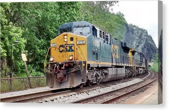 Csx Ac60cw Leading Manifest Freight At Harper's Ferry Canvas Print