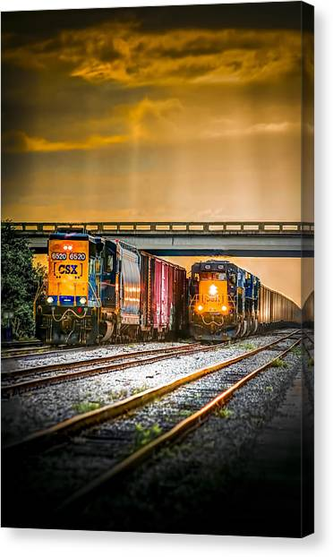 Freight Trains Canvas Print - Csx Two For One by Marvin Spates