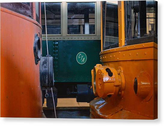 Thomas The Train Canvas Print - Cta And Electric Trains Nose To Nose by Thomas Woolworth