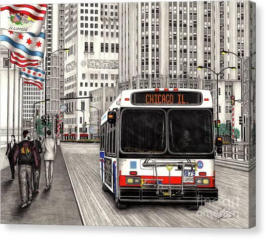 Cta Bus On Michigan Avenue Canvas Print