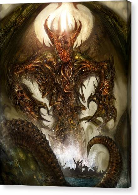 Fantasy Art Canvas Print - Cthulhu Rising by Alex Ruiz