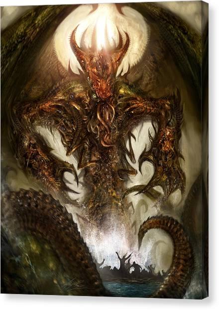 Creature Canvas Print - Cthulhu Rising by Alex Ruiz