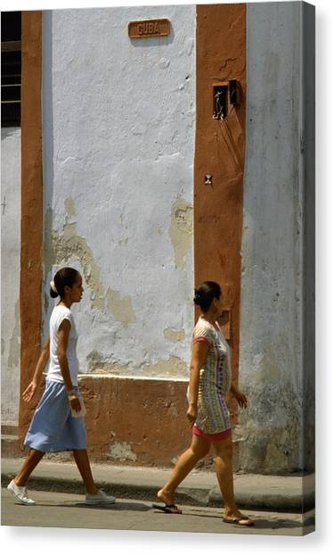 Travelpics Canvas Print - Cuba Calle In Havana Cuba by Travel Pics
