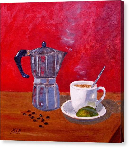 Cuban Coffee Beans And Lime Canvas Print by Maria Soto Robbins