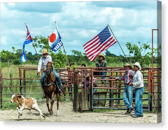 Canvas Print featuring the photograph Cuban Cowboys by Lou Novick