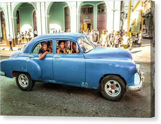 Canvas Print featuring the photograph Cuban Taxi by Lou Novick