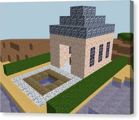 Minecraft Canvas Print - Cube Pixel Church World by Miroslav Nemecek