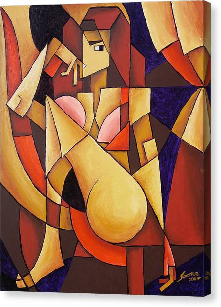 Canvas Print featuring the painting Cube Woman by Sotuland Art
