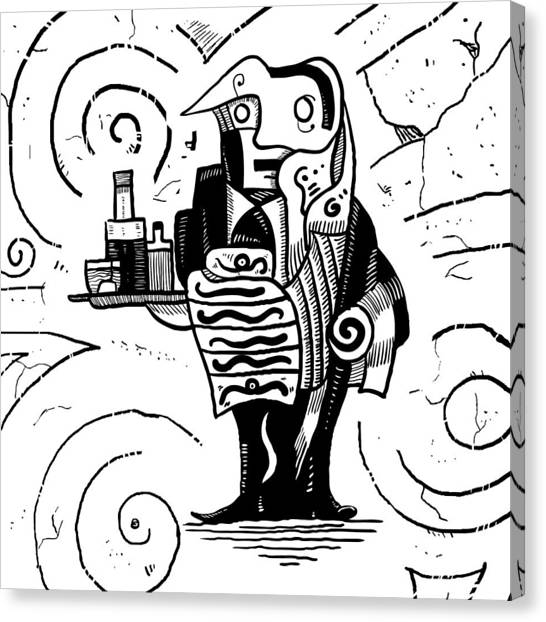 Cubist Waiter Canvas Print