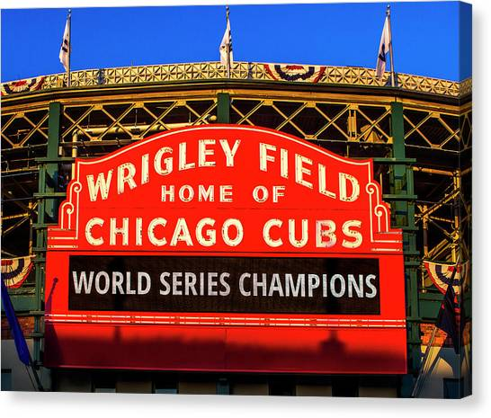 Wrigley Field Canvas Print - Cubs Win World Series by Andrew Soundarajan