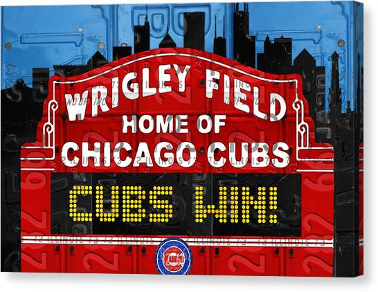 Baseball Teams Canvas Print - Cubs Win Wrigley Field Chicago Illinois Recycled Vintage License Plate Baseball Team Art by Design Turnpike
