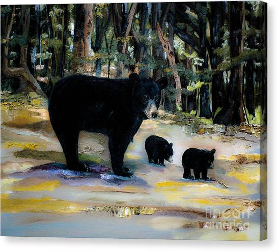 Cubs With Momma Bear - Dreamy Version - Black Bears Canvas Print