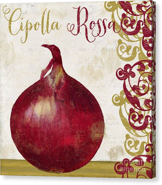 Olive Oil Canvas Print - Cucina Italiana Onion by Mindy Sommers