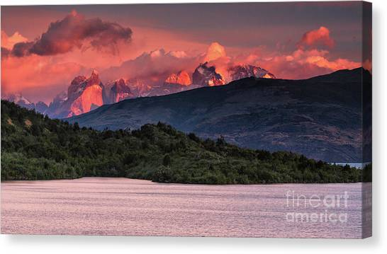 Canvas Print featuring the photograph Cuernos On Fire by Stuart Gordon