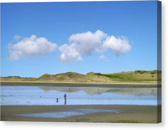Culleenamore, Strandhill, Sligo - A Man And A Dog Cycle Over The Water To The Dunes On A Sunny Day Canvas Print