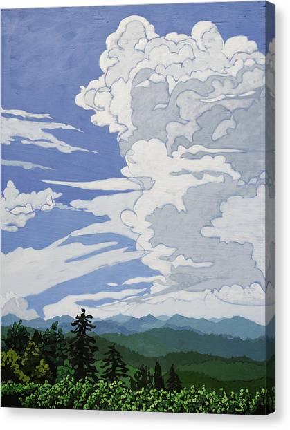 Canvas Print featuring the painting Cumulonimbus Afternoon by John Gibbs