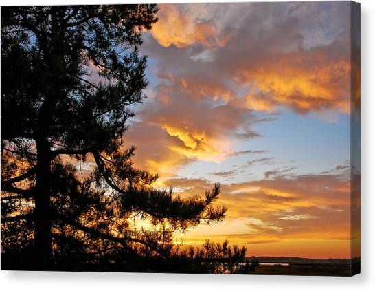 Canvas Print featuring the photograph Cumulus Clouds Plum Island by Michael Hubley