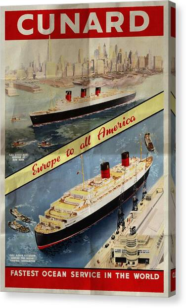 Cunard - Europe To All America - Vintage Poster Folded Canvas Print