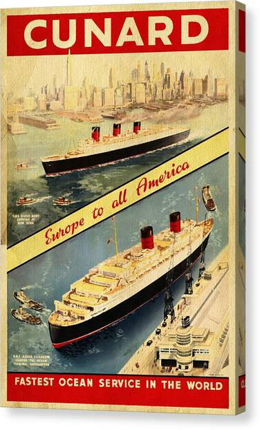 Cunard - Europe To All America - Vintage Poster Vintagelized Canvas Print