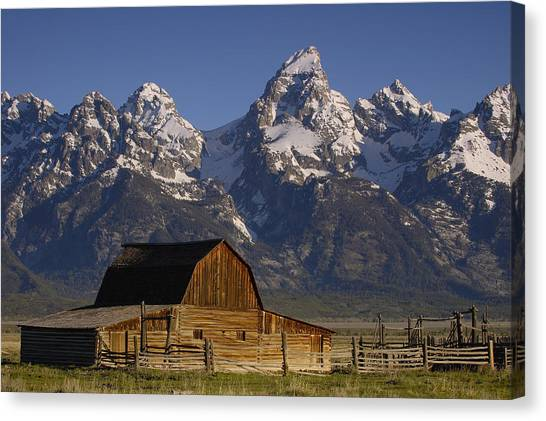 Mountain Ranges Canvas Print - Cunningham Cabin In Front Of Grand by Pete Oxford