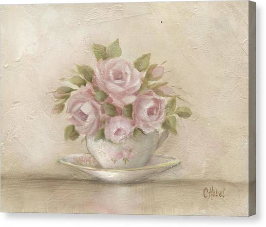 Cup And Saucer  Pink Roses Canvas Print