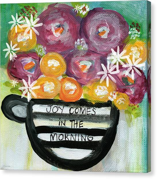 Tea Set Canvas Print - Cup Of Joy 2- Contemporary Floral Painting by Linda Woods