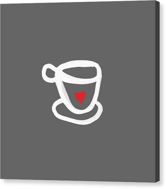 Heart Canvas Print - Cup Of Love- Shirt by Linda Woods