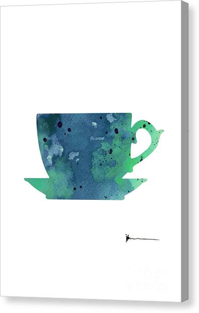 Abstract Canvas Print - Cup Of Tea Painting Watercolor Art Print by Joanna Szmerdt