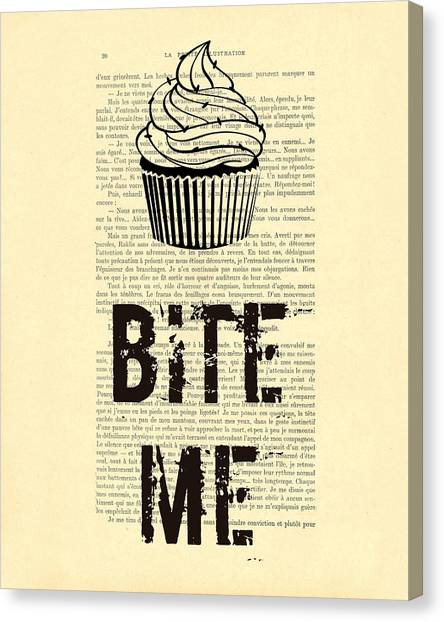 Birthday Gift Canvas Print - Cupcake Bite Me Typography by Madame Memento